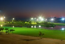 The Track Meydan Golf / The Track Meydan Golf is a floodlit golf course in Dubai and available to play until 11 pm. Head to The Track at night to get your golf fix in Dubai whether it be on the championship course or sharpening your game with tuition at the Academy by Troon.