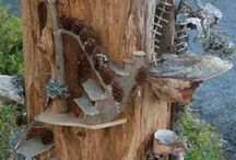 Artes no tronco de madeira