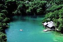 Blue Lagoon, Port Antonio, Jamaica / Blue Lagoon is a natural lagoon, situated roughly seven miles east of Port Antonio. The deep lagoon was once thought to be bottomless but divers have since determined it's depth to be around 180 feet. A must on your trip to Jamaica! / by Great Huts