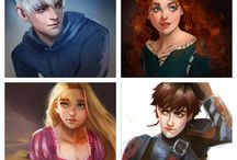 Rise of the brave tangled dragons / Rise of the guardians, Brave, Tangled, how to train your dragon and a little bit frozen.