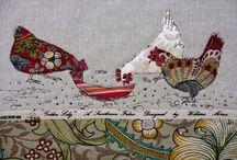 fibre art chickens
