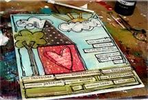 glue, paper, colour, pen, doodling