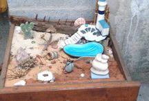 Nos ptits jardins.... / Des petits jardins miniature réalisés l'un dans une vieille malle l'autre dans un vieux tiroir....
