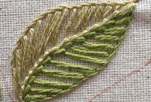 Blanket stitch leaves
