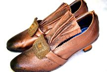 Millie / Thoroughly Modern Millie shoes for dancing. Copper leather with vintage trim from the 1920's.