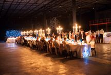 Romantic wedding reception / Candle lit reception held in a warehouse in cape town