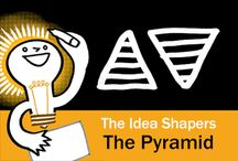 The Idea Shapers: The Pyramid / In her 2016 book The Idea Shapers, Brandy Agerbeck makes visual thinking attainable and enjoyable through a set of 24 Idea Shapers. The Pyramid is the third visual thinking concept in the fourth step, SCALE.