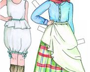 Paper dolls, embroidered postcards and prints of Portugal / This is a collection of national costumes from Portugal. some are colouring papers, paper dolls, embroidered postcards and some prints.