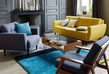 Yellow elements and wooden floor