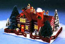 Hímzett karácsonyi házikó leírással sablonnal.