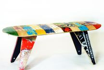 Recycled Skateboard Benches by Deckstool. / Beautiful, modern, recycled, strong. Contract quality backless benches expertly crafted from a colorful collage of recycled skateboard fragments.