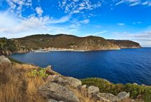 """Isola di Capraia / Capraia è la terza isola più grande dell'Arcipelago Toscano.  """"Selvaggia"""" per definizione e caratterizzata da coste scoscese a picco sul mare, rocce dai colori intensi e contrasti cromatici impressionanti. L'isola è a sole 54 miglia dal Porto della Maremma"""