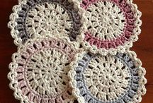 crochet coasters, dishcloths and potholders