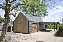 Bijgebouw / Een modern bijgebouw met strakke lijnen en contrasten gemaakt van natuurlijke materialen. Dat was het uitgangspunt voor dit ontwerp in Overasselt.