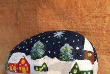Winter wonderland stones / Stones painting