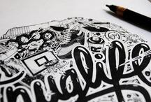 Lettering & illustration typo / les lettres et mots dessinés, illustrés, transformés et décorés.
