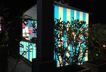 Leucht Hütte / Backlit booth outdoors / Outdoor booth with weather-proofed textile prints and backlit LED Lighting.