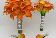 Orange Flame Calla Lily Wedding / Orange Flame Calla Lily Wedding inspiration. These calla lilies look absolutely stunning for both bride and bridesmaids.
