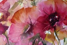 Veronique Piaser Moyen-Contemporary Watercolours / Impressionistic WC Flowers