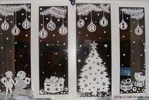Dekorace okno Vánoce