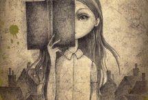 könyvek, rajzok
