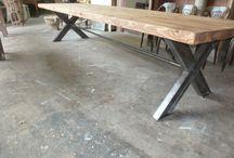 Table bois et metal