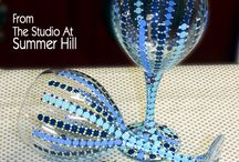 The Studio At Summer Hill / Handpainted glass, crystal and ceramics in a variety of intense color combinations.