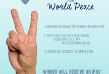 Selfieez for World Peace / To participate, simply upload up your selfie on Instagram while using the hashtag #selfieezforworldpeace and tag @selfieez_app. It will speak about the global community's desire to unite and exist in peace. If your peace sign selfie is chosen, you will WIN an iPad from Selfieez! Winner will be selected on December 22nd. Tag your friends to do the same and be the voice that really matters.  #selfieezforworldpeace.