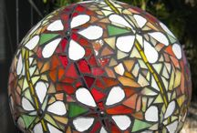 Mosaic Spheres / Mosaic Garden Spheres; many made from bowling balls