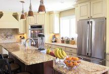 Rustic Alder/Maple / Specie: Rustic Alder/Maple Finish: Brown Glaze on Hazelnut/Bisque Overlay: FOLC Door Style: Meadowview Drawer Style:1 inch Slab  Designer:  Mike Bliss @ Cabinet Discounters - Gaithersburg, MD