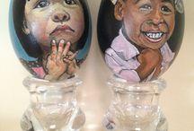Eieren schilderen / Met de hand beschilderde eieren.