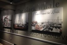 My latest commercial project / I designed & painted The Black Whale Seafood Restaurant. Through use of color, design & raw material I was able to bring in a rustic New England feel to the interior & exterior of this waterfront Raw Bar & Seafood Restaurant.