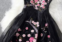 Cherry blossoms Black Dress