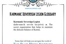 The Blue Moon Narthex / The balance of good and evil has been left in the hands of a thirteen year old...  Since the beginning of time, Karmanic matter worked silently and unassisted keeping good and evil in balance, until growing greed in the world meant Karma couldn't keep up. As World War I rages, the secret Karmanic Sovereign Legion works behind the scenes to help Karma.