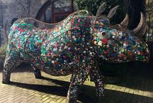 Recycling art by jacha potgieter / Making art out of recycling material  to make people aware of their impact on animals