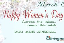 """happy women's day / Send our wishes to the loved ones !!!   Wishing you a day filled with goodness and warmth, Wishing you happiness… today and forever, Happy Women's Day!   From """"Carrington Group"""""""