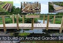 Backyard Bridge Building Steps / Building instruction about arched footbrige with rails. Step-by-step pictures and tips. Water Gardening and woodworking DIY Project.