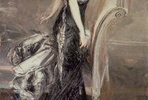 """Giovanni Boldini ( 1842 - 1931). Pictor italian portretist. /  El a fost cunoscut sub numele de """"Master of Swish"""" ( Maestrul picturii care curge ).  Prieten al lui Edgar Degas,  a devenit,  la sfârșitul secolului al 19 - lea,  cel mai la modă pictor portretist din Paris, cu un stil elegant de pictură care prezintă o oarecare influență impresionistă."""
