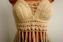 crochet crop top&bustier