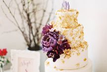 Wedding cake purple and gold