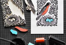 Linocut / Blockprinting/ stamp carving ideas