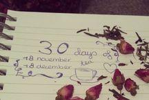 30 days of tea / Op 18 november 2013 ben ik begonnen met een 30 dagen project. Aangezien ik wekelijks over thee schrijf en ook dagelijks van dit heerlijke drankje geniet heb ik besloten om 30 dagen lang een theemoment vast te leggen. Dit thee moment kan van alles zijn, reden dus om mij de komende 30 dagen te volgen! Blog: lovefortea.wordpress.com Instagram: kayleighks Tumblr: kayleighks