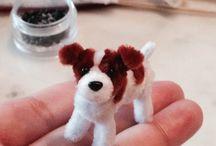 Zvířátka z chlupatých drátků + origami ze stuh - pipe cleaner animals + ribbon animal