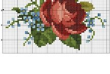 Q / Punto Croce/Fiori/ вышивка/цветы