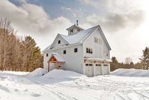 """Modern Barn Home / This beautiful Vermont Barn Home is known to the homeowners as """"La Maison de Pommes"""" as the home was built on an old apple orchard. The timber frame barn features a unique floor plan with 4 levels. The first two levels are a rental for those looking for the perfect ski trip. The upper two levels are the homeowner's living quarters. What a cool barn!"""