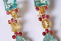 Brinco princesa / topazio azul, citrino, turmalina rosa em ouro 18k