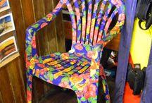 cadeiras e bancos forradas