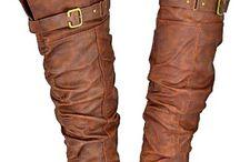 cognac flat leather boots