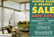 Alleen's Winter Drapery and Blind Event Save 50% off / Now until Jan 31 save 50% off Nantucket, Suncreen Solar Shades and Parkland Wood Blind