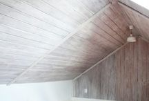 whitewash wood ceiling